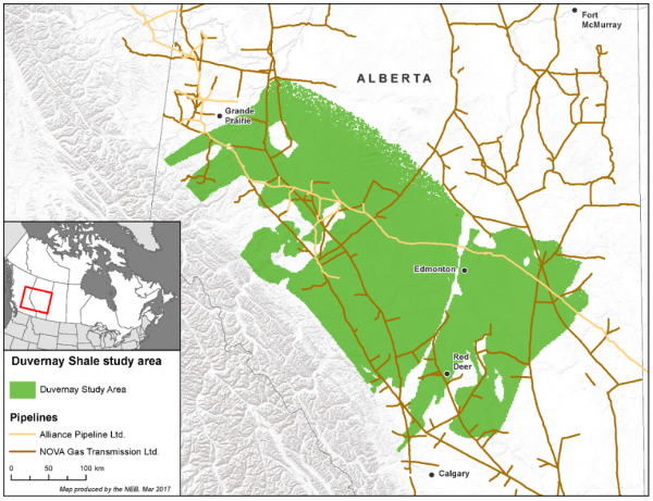 Alberta Basin Duvernay Formation Situation Map